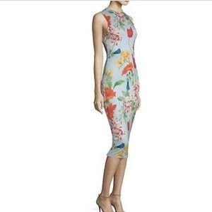 Alice + olivia Delora Floral Fitted Midi Dress
